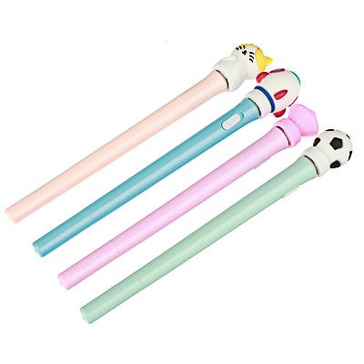 Ручка шариковая синяя, со светящейся и крутящейся фигуркой, 4 дизайна, 17см (+-1 см), пластик, пакет