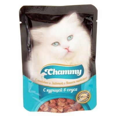 Влажный корм Chammy для кошек, курица, кусочки в соусе, пауч, 85 г