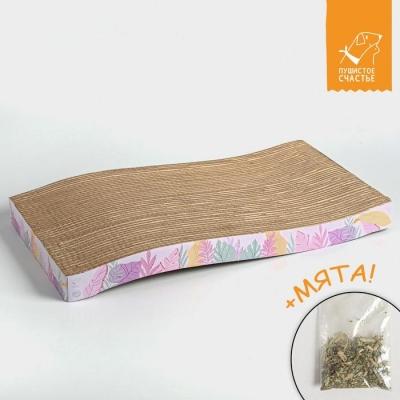 Когтеточка из картона с кошачьей мятой «Тропические листья», волна