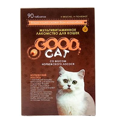 Мультивитаминное лакомство GOOD CAT для кошек, норвежский лосось, 90 таб