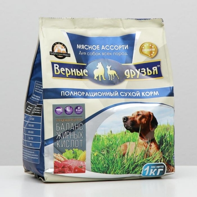"""Сухой корм """"Верные друзья"""" для собак всех пород, мясное ассорти, 1 кг"""