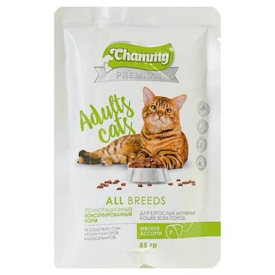 Влажный корм Chammy Premium для кошек, мясное ассорти, 85 г