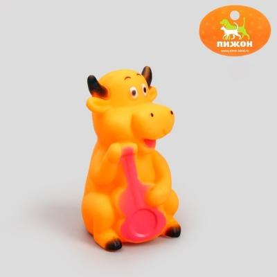 """Игрушка резиновая пищащая """"Корова"""" для собак, 10 см, микс цветов"""