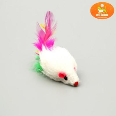 Мышь меховая однотонная с перьями 6,5 см, микс цветов