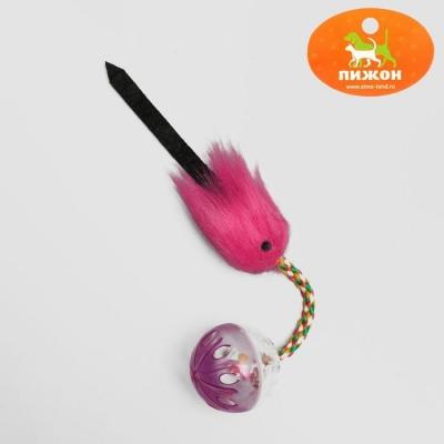 Шар-погремушка с хвостиком, микс цветов