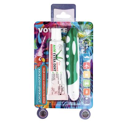 Набор дорожный Вояж (зубная щётка дорожная, средняя + зубная паста ALOE EXTRA DENT 30г)